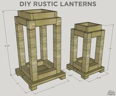 How to build DIY rustic lanterns out of scrap wood. Free building plans by Jen…