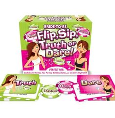 Take the bachelorette party to the next level with our Flip, Sip Truth or Dare Game! Fun for a pub crawl or an at-home bash!