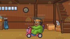 An Overweight Black Woman On A Scooter Roaming Around The Area At A Tidy Basement Of A House:  A fat black woman with curly short hair wearing an orange visor cap green dress with yellow cuffs and ruffled ends white pearl earrings blue shoes smirks while riding a pink scooter with a basket and purple chair hands holding on to the gray handlebar. Set in a basement with wooden walls light brown wooden parquet flooring small paneled window stairs at the corner side with boxes underneath it a…