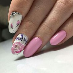 Pink Nails With Floral Design