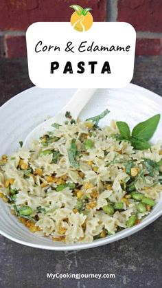 Simple and refreshing Pasta salad with roasted corn and edamame is a great option for lunch or as a side for Holiday Meal. Best Salad Recipes, Yummy Pasta Recipes, Side Dish Recipes, Vegetarian Recipes, Dinner Recipes, Healthy Recipes, Fun Recipes, Amazing Recipes, Dinner Ideas