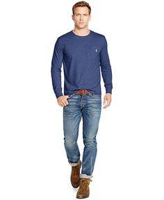 SIZE M Polo Ralph Lauren Long-Sleeved Jersey Pocket Crewneck - Clearance - Men - Macy's
