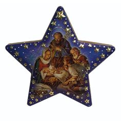 Love the blues and golds in this ornament! Depicts the Holy Family in the shape of the Star of Bethlehem.