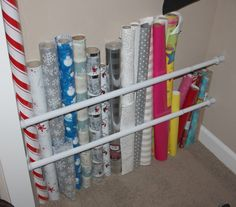 13 Problems Easily Solved With Tension Rods - Wrapping Paper