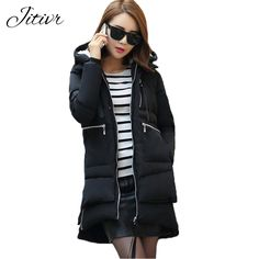 2017 New Women's Coats Fashion Warm Slim Winter Jackets Plus Size Solid Hooded With Zipper Poacket Casual Parkas For Female ** AliExpress Affiliate's buyable pin. Locate the offer on www.aliexpress.com simply by clicking the image