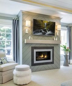 Fireplace Accent Walls, Shiplap Fireplace, Small Fireplace, Bedroom Fireplace, Home Fireplace, Fireplace Remodel, Fireplace Surrounds, Fireplace Ideas, Fireplace Cover