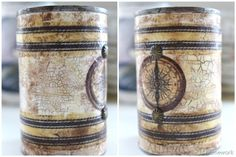 Upcycling: Weathered lookin Nautical cans using Mod Podge Crackle Medium