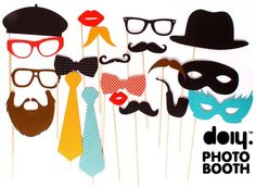 Doiy Party Time Photo Booth Props For Children Adults Multi-Color 20 Pieces Photo Booth Kit, Photo Booth Party Props, Photo Props, Props Photobooth, Party Set, Party Time, Diy Fotokabine, Accessoires Photobooth, Party Fotos