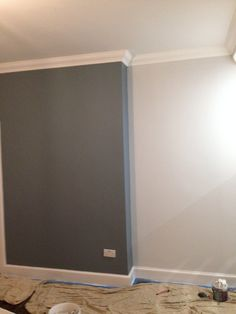 Denim drift feature wall polished pebble other walls both dulux Dulux Feature Wall, Grey Feature Wall, Feature Wall Bedroom, Denim Drift Dulux Paint, Dulux White Paint, Grey Paint, Dulux Denim Drift Bedroom, Living Room Paint, Living Room Decor