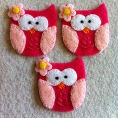 Pink and hot pink felt appliqué owls Set of three