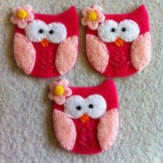 Pink and hot pink felt appliqué owls Set of three