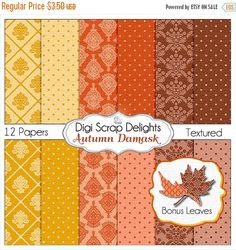 50% OFF TODAY Autumn Damask Digital Papers &  Leaf Clip Art for Digital Scrapbooking, Fall Card Making, Brown, Orange, Gold Linen Textured,  #fall #autumn #halloween #thanksgiving #scrapbooking #memories #craft #digiscrapdelights #clipart