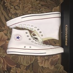 BRAND NEW white leather converse high top White leather, brand new, never before worn, high top converse!! So cute with boy friend jeans and a white tee! Converse Shoes Sneakers