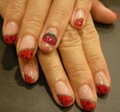 so cute, watermelon nail art ネイルアート : なっちゃんのダイニング