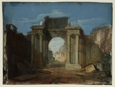 Joseph Mallord William Turner, 'A Capriccio with the Dome of St Peter's, Rome, Seen through a Ruined Triumphal Arch' (J. Turner: Sketchbooks, Drawings and Watercolours) Saint Peter Rome, List Of Paintings, Oil Paintings, Turner Watercolors, Example Of Abstract, Arch Of Titus, Turner Painting, Joseph Mallord William Turner, Tate Gallery