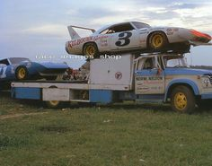 """Dodge car transporter truck owned by Norm Nelson with his Dodge race car called """"Superbird"""" Nascar Autos, Nascar Cars, Nascar Racing, Auto Racing, Drag Racing, Dodge Charger Daytona, Dodge Daytona, Old Race Cars, Us Cars"""