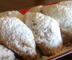 Jam and Walnut-filled Crescents (Skaltsounia) - My Greek Dish Greek Sweets, Greek Desserts, Greek Recipes, Greek Cookies, Filled Cookies, Greek Dishes, Tray Bakes, Cookie Recipes, Sweet Tooth