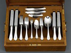 This exceptional Tiffany & Co. silver flatware set boasts the elegant Flemish pattern Circa 1920 ~ M.S. Rau Antiques