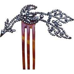 Victorian Cut Steel Hair Comb themed as an Arrow and Crescent Hair from spanishcomb on Ruby Lane