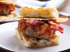 Amatriciana #Burgers With Tomato-Onion Jam, Bacon, and Pecorino Romano Crisps | Serious Eats : Recipes