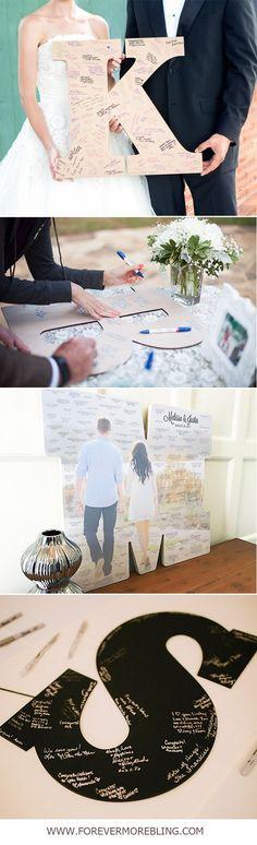 alternative Wedding Guest Book Monogram Letter Sign Wooden Letter Wedding Guestbook