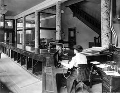 Part of the business office & press room. (Troy Record, Troy Times historical photo)