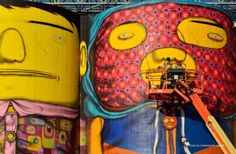 Os Gemeos close up of Giants in Vancouver, Biennale (2014)