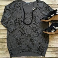 DKNY animal print knit top DKNY light weight knit top. Black & gold animal print on gray. 60% cotton & 40% rayon. 3/4 sleeve & scoop neck. Super cute with black  pants or jeans. It's time to RRRRoaRRRR! DKNY Tops
