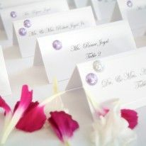 Purple accent wedding place cards