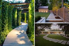 These are 14 examples of modern backyard walkways and paths with creative elements of landscape design which connect or divide yards.