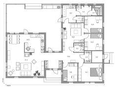 Talomallisto | 1 kerros | Moderna | Moderna 170 Future House, My House, Atrium, Humble Abode, House Floor Plans, Living Room Designs, Beautiful Homes, Sweet Home, Cottage