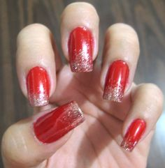 Red with glittery gold