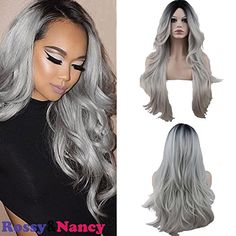 RossyNancy Two Tones Cheap Synthetic Long Wave Heat Resistant Wig Free Part Ombre Black Rooted Silver Gray 130 High Density for Women *** Read more  at the image link. (This is an Amazon affiliate link and I receive a commission for the sales and I receive a commission for the sales)