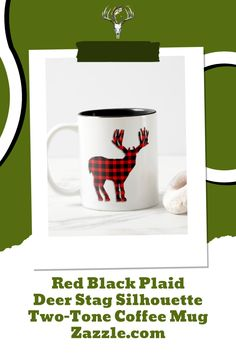 Buck Deer Plaid Coffee Mug for hunters and nature lovers. #hunting #wildlife Hunting Home Decor, Buck Deer, Red And Black Plaid, Hunters, Color Pop, Coffee Mugs, Create Yourself, Best Gifts, Wildlife
