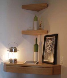 etagere tablette murale angle en bois avec desserte ou bureau à tiroir