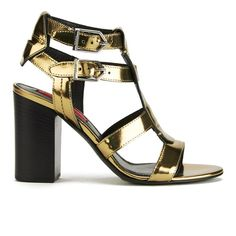 Buy HUGO Women's Malena-M Buckle Strap Heeled Leather Sandals - Gold from Allsole. Strappy Block Heel Sandals, Strappy Heels, Strap Sandals, Shoes Sandals, Leather High Heels, Leather Sandals, Gold Shoes, Heeled Mules, Ankle Strap