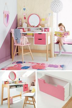 6 Exemplos de Canto de Escrivaninha Infantil Prático, Deco e Criativo (Especial Principal) – Quarto Bebe Pallet Kids, Doll House Plans, Kid Desk, Home Room Design, Awesome Bedrooms, Creative Kids, Kids House, Kids Furniture, Girl Room
