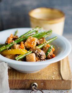 Tuorekset-reseptit - Sweet and sour wok eli hapanimelä wokki valmistuu näppärästi käyttövalmiista kasviksista. Chicken, Ethnic Recipes, Sweet, Blessed, Peace, Movie, Fish, Red Peppers, Candy