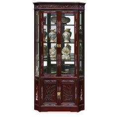 27in Flower and Birds Design with Pearl Motif Rosewood Corner Cabinet - Cherry