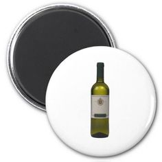 Bottle of quality wine with blank label 2 inch round magnet