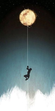 Art illustration | Man hanging by a rope from the moon | Man in the moon falling from grace?