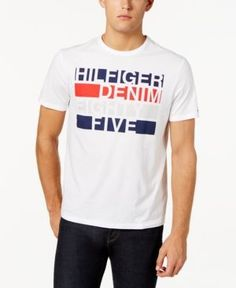 Tommy Hilfiger Men's Graphic-Print Logo T-Shirt - White 2XL