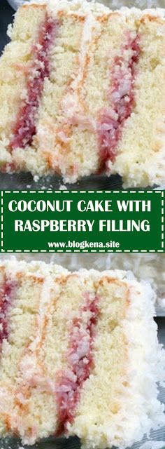 Coconut Cake with Raspberry Filling - Banana Kuchen Coconut Recipes, Baking Recipes, Cake Recipes, Dessert Recipes, Recipes With Cake Flour, Cake Flour Recipe, Cake Filling Recipes, Filling Food, Coconut Cake Frosting