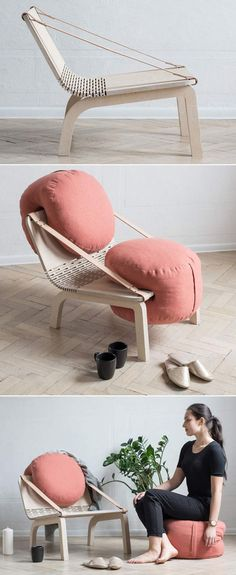 Dango flexible armchair has two removable poufs Polish designer Agnieszka Kowal creates a small chair that is easy to move and has removable cushions that can be removed to create additional seating. Moving Furniture, Cheap Furniture, Furniture Chairs, Furniture Ideas, Furniture Stores, Room Chairs, Luxury Furniture, Corner Furniture, Blue Chairs