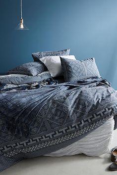 Master or guest Slide View: Kerchief-Printed Duvet Duvet Bedding, Linen Bedding, Bedding Sets, Bed Linen, Bedroom Color Schemes, Bedroom Colors, Bedroom Decor, Colour Schemes, Bedroom Linens