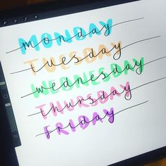Bullet journal inspiration - days of the week font ideas.