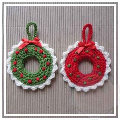 Christmas Wreath Tree Ornament This pattern was part of 2015 October 31 Days of Handmade Christmas Ornaments! Christmas Crocheted Wreath Tree Ornament SKILL LEVEL: Easy Basic stitches, simple shaping and finishing. SIZE: Approx 8,5 cm x 8,5 cm MATERIALS: Yarns: Small amounts of double knitting/light worsted yarn in red, green and white Hooks & Notions: Size 3.50 mm Yarn Needle GAUGE: Tension/Gauge is not necessary for this project to be perfect as long as all the blocks are ap...