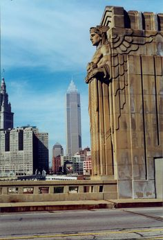 "One of the ""Guardians of Traffic"" statues of the Hope Memorial Bridge (formerly the Lorain-Carnegie Bridge) in Cleveland, OH, U.S.A."