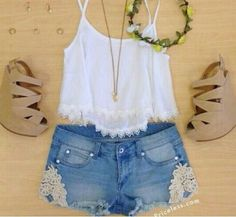 Flowy white crop top, tan chunky wedges, lace trim shorts and simple necklace. Adore..