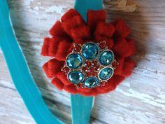 Red and turquoise felt headband $6.00